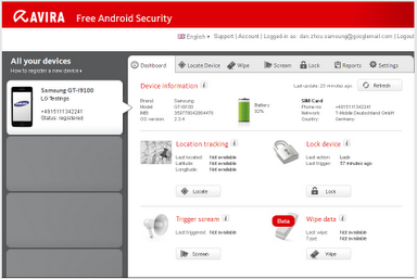 Avira Free Android Security Controler Son Telephone A Distance