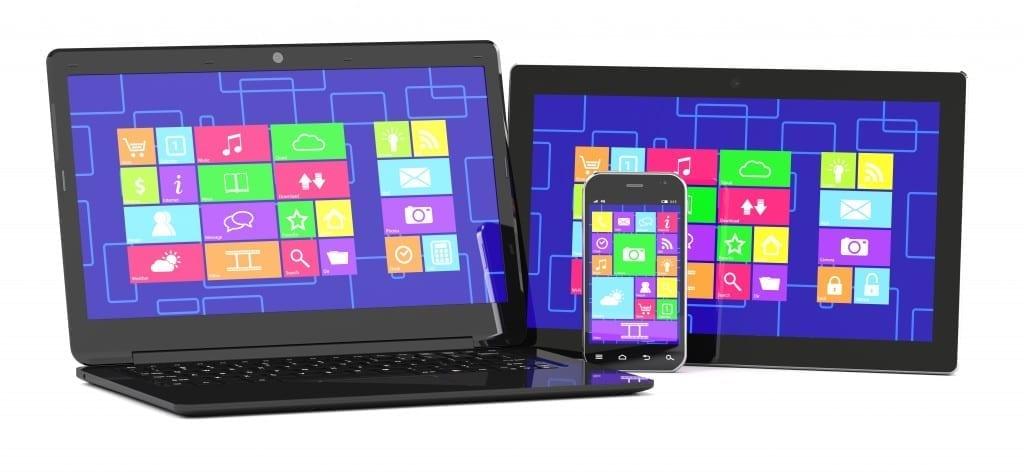 tablet PC, laptopand smartphone