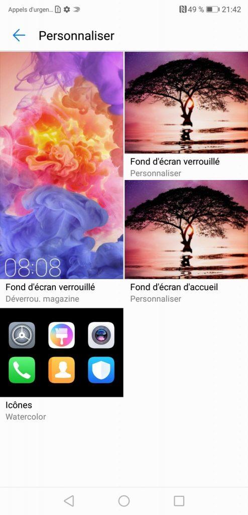 Test Huawei P20 Pro interface personnalisation