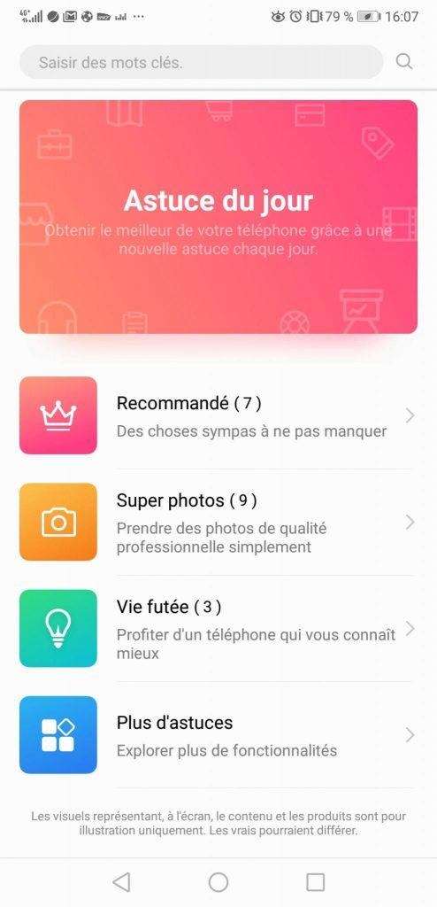 Test Huawei P20 Pro app astuces