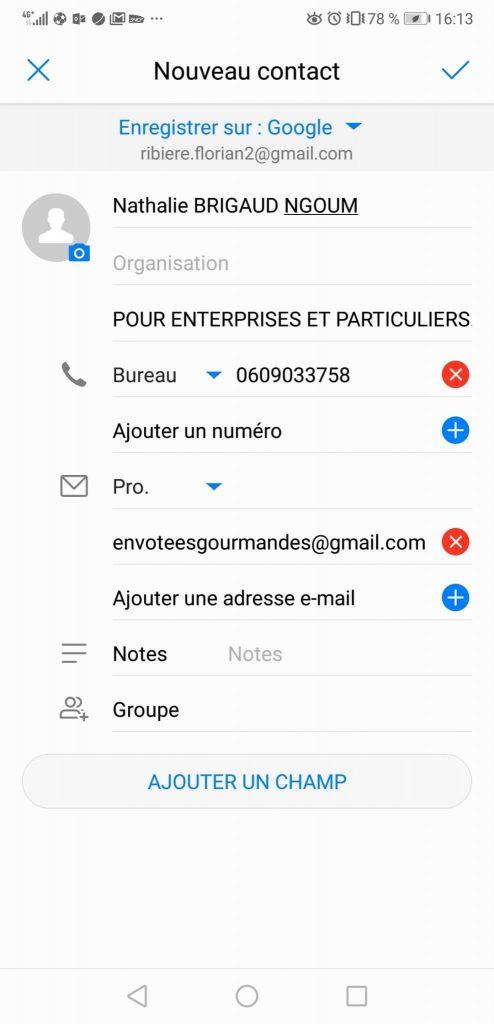 Test Huawei P20 Pro contact qr code
