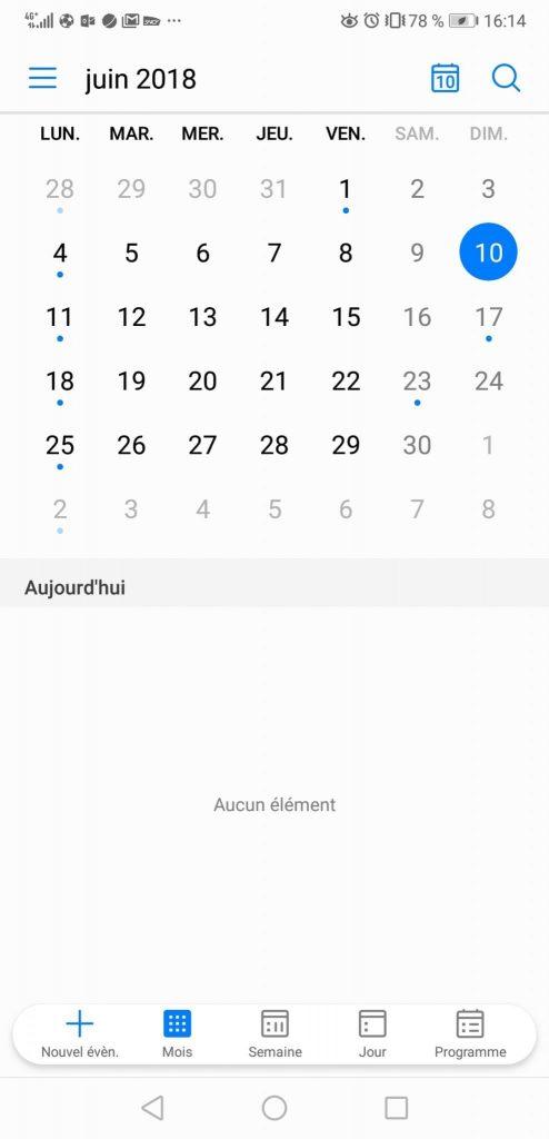 Test Huawei P20 Pro interface agenda