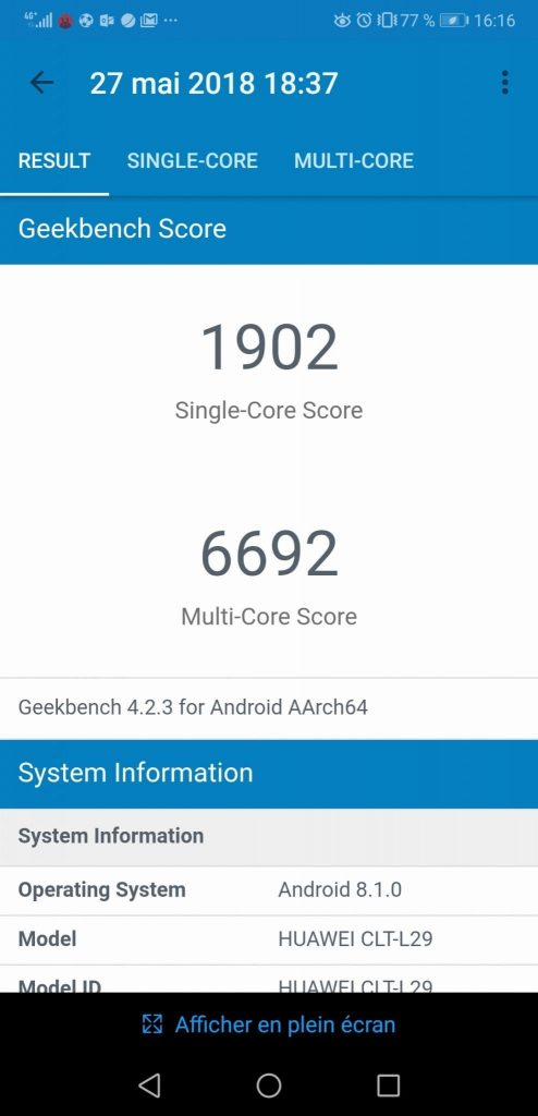 Test Huawei P20 Pro performance geekbench