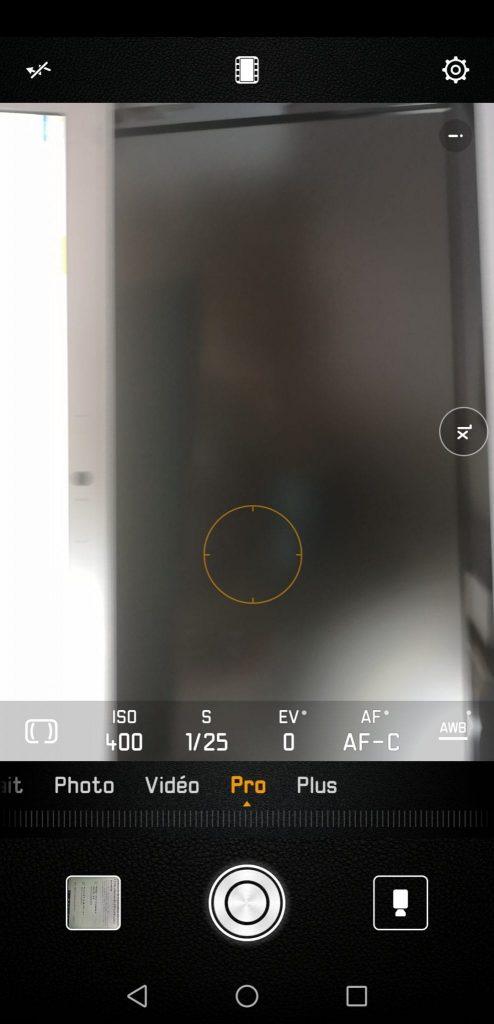 Test Huawei P20 Pro appareil photo interface
