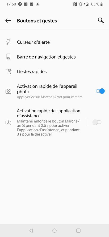 test oneplus 6t bouton gestes
