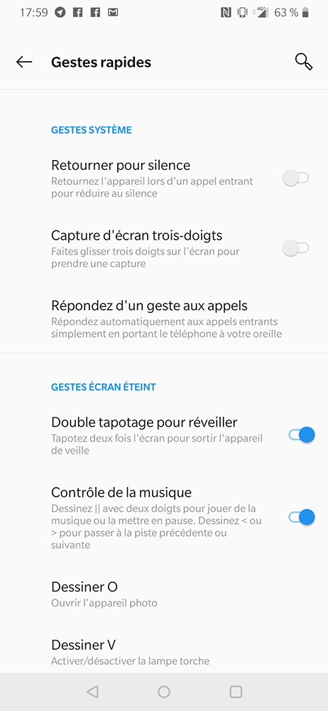 test oneplus 6t gestes interface