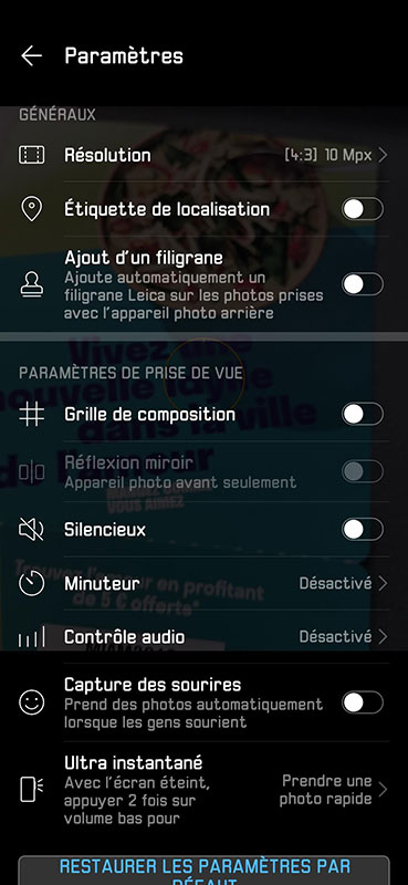 test huawei p30 application appareil photo parametres