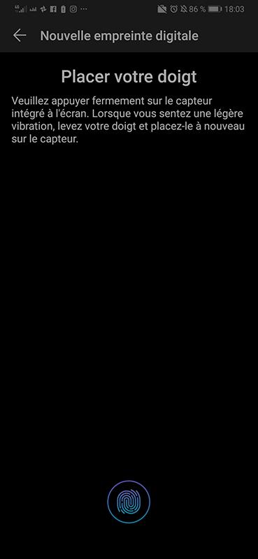 test huawei p30 capteur empreintes digitales sous ecran